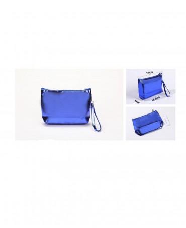 METALLIC BLUE BEAUTY BAG